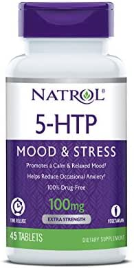 Natrol 5-HTP Time Release Tablets, Promotes a Calm Relaxed Mood, Helps Maintain a Positive Outlook, Enables Production of Serotonin, Drug-Free, Controlled Release, Maximum Strength, 100mg, 45 Count