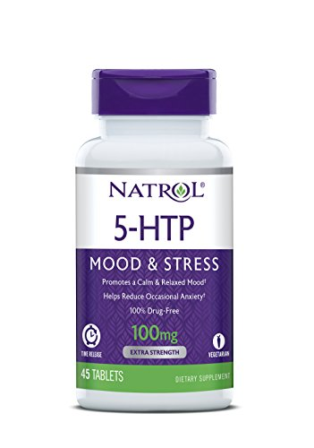 (Natrol 5-HTP Time Release Tablets, Promotes a Calm Relaxed Mood, Helps Maintain a Positive Outlook, Enables Production of Serotonin, Drug-Free, Controlled Release, Maximum Strength, 100mg, 45 Count)
