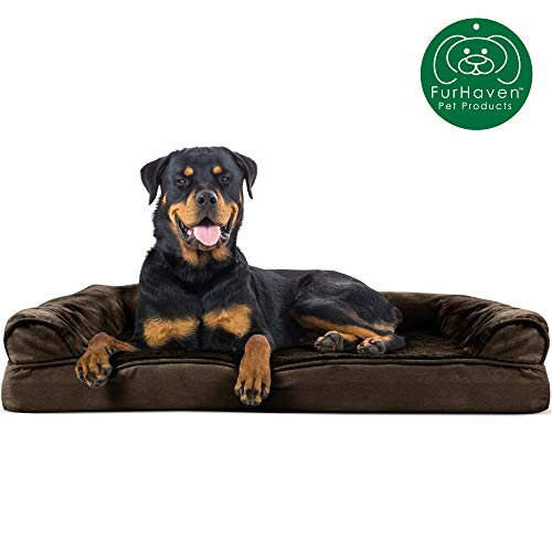 Furhaven Pet Dog Bed | Orthopedic Ultra Plush Faux Fur amp Suede Traditional SofaStyle Living Room Couch Pet Bed w/ Removable Cover for Dogs amp Cats Espresso Jumbo