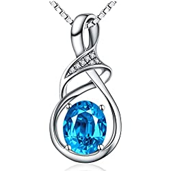 Sterling Silver and Swiss Blue Natural Topaz Gemstone Pendant Necklace Fine Jewelry Gifts for Women
