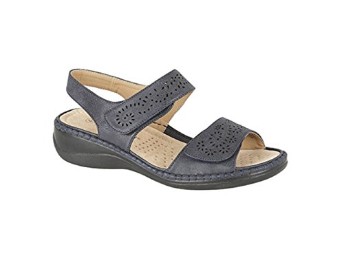 Boulevard DARCY Ladies Faux Nubuck Velcro Halter Back Sandals Beige Navy
