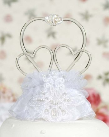Blown Glass Cake Toppers - Glass Hearts Vintage Applique Cake Topper: Skirt Color: White