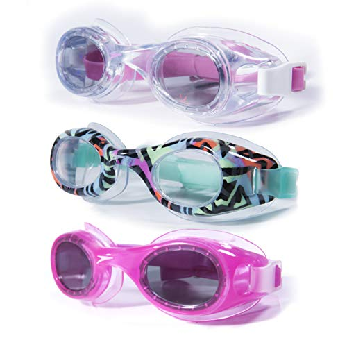 Speedo Kids Swim Goggles Age 3-8 Anti Fog UV Protect Latex Free (Multi Stripes, Clear, Hot Pink)