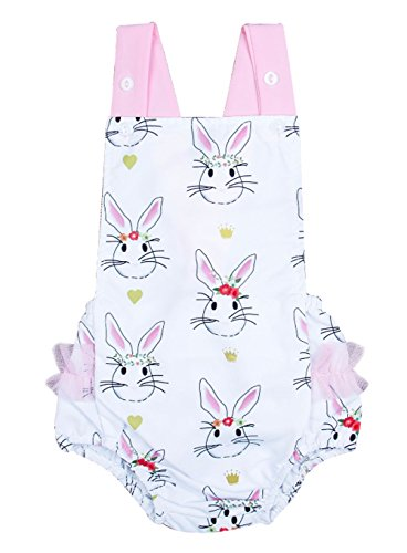 UNIQUEONE Infant Girls Easter Clothes Cartoon Bunny Sleeveless Backless Romper Bodysuit Size 12-18Months/Tag100 (White Bunny Suit)
