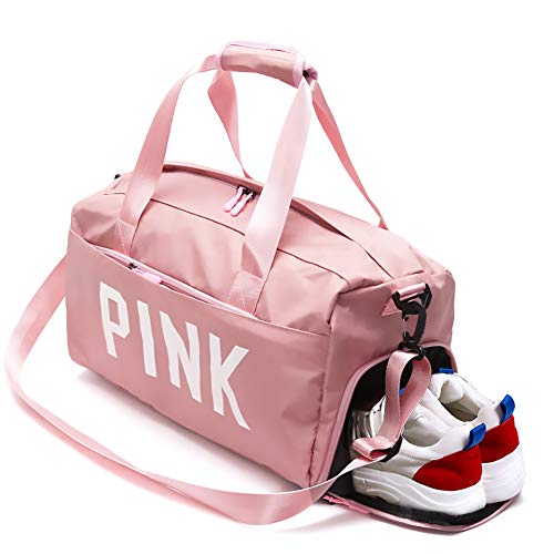 ZOORON Gym Bag with Shoes Compartment for Women, Waterproof Travel Weekender Sports Workout Duffel Swim Gym Bag with Dry Wet Pocket Pink (Victorias Secret Workout Bag)