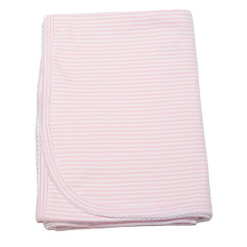 Kissy Kissy Baby Stripes Striped Blanket-White With Pink-One Size