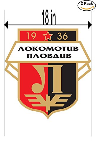 fan products of Lokomotiv Plovdiv FC Bulgaria Soccer Football Club FC 2 Stickers Car Bumper Window Sticker Decal Huge 18 inches