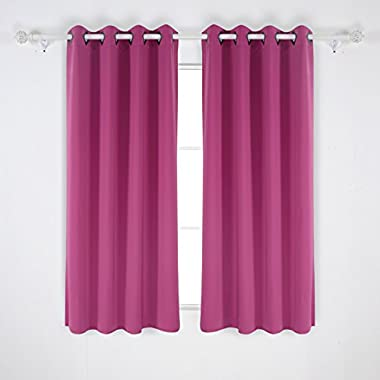 Deconovo Grommet Top Fuscia Solid Thermal Insulated Blackout Curtain For Bedroom 52 Inch Wide by 63 Inch Long 1 Pair