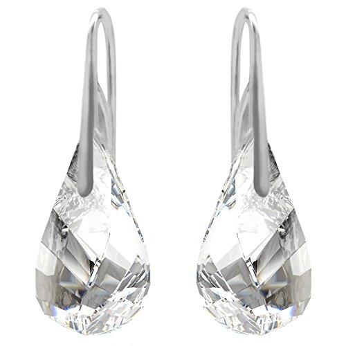 Sterling Silver Made with Clear Swarovski Crystals Water Twist Drop Hook Pierced (Swarovski Crystal Twist)