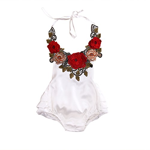 Baby Girl 3D Flower Applique Halter Floral Romper,Backless Bodysuit,Ruffle Sunsuit (18-24 Months, White)