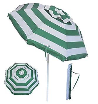YATIO-6ft Beach Umbrella Sun Shelter with Tilt, Fiberglass Ribs, Telescopic Pole, Windproof Canopy, Carry Bag-Green Stripe