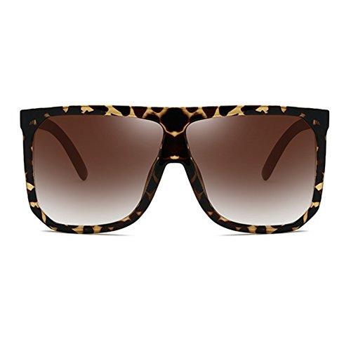 plástico de UV400 de Mujer de juqilu Top con Hombre gran sol protección C1 moda Plaid tamaño Gafas Flat de Marco YIzwaqd0Ix