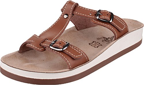 Fantasy Ladies Arillas Leather Metal Buckle Slide Sandal Brown Tan