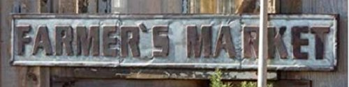 Galvanized Metal Farmers Market Sign with Embossed Letters for Rustic Home Decor For Sale