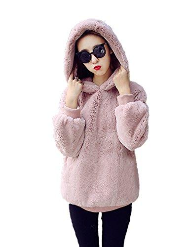 Idopy Sudaderas con capucha de piel sintética cálida de otoño invierno para mujer Rosa