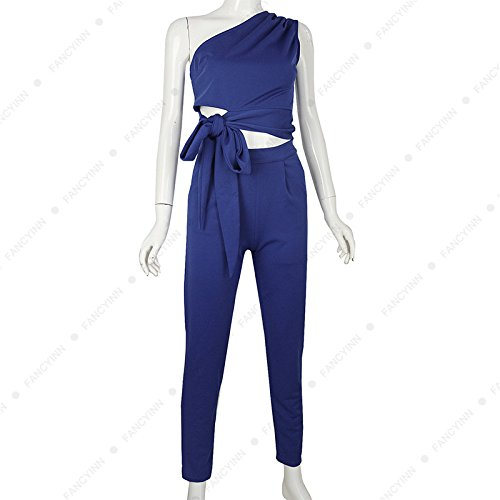 New Oblique Shoulder Straps Sleeveless Hips Jumpsuit Two Sets Women's Clothing by MV (Image #3)