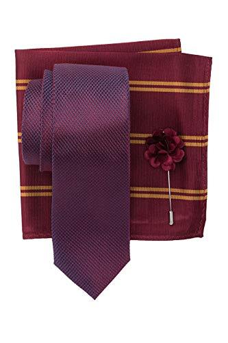 Ben Sherman Silk Morris Solid Tie, Pocket Square, Lapel Pin Set