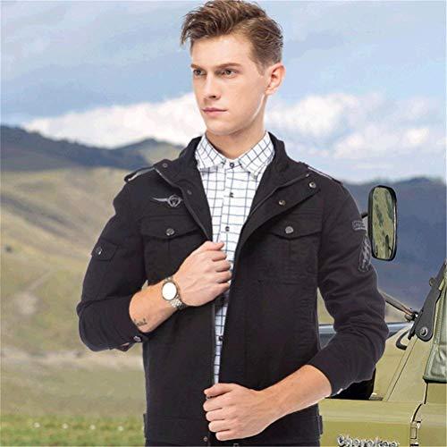 Fashion Men Stand Jacket Outerwear Warm Leisure Coat Sleeve Collar Apparel Jacket Pocket Autumn Schwarz Multi Coat Huixin Men's Classic Long nwx8UtX6T