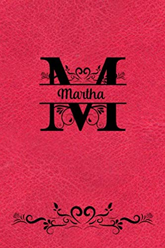 Split Letter Personalized Name Journal - Martha: Elegant Flourish Capital Letter on Red Leather Look Background