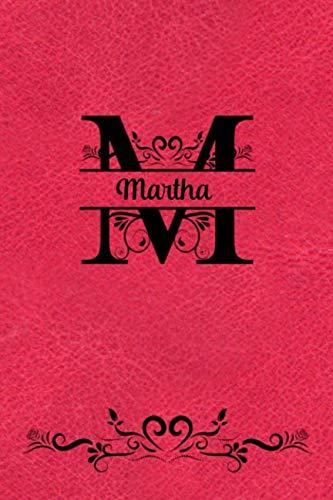 Split Letter Personalized Name Journal - Martha: Elegant Flourish Capital Letter on Red Leather Look Background