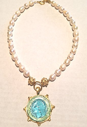 Aqua Venetian Glass Coin Intaglio on Genuine Freshwater Pearl Necklace Necklace Length is 15
