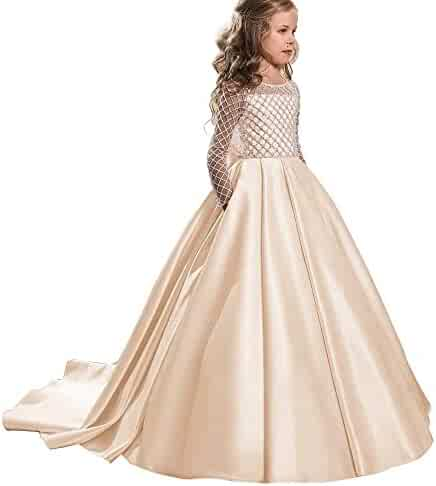 706624d59ab Wenli Little Girls Glitz Shiny Ball Gowns Long Princess Birthday Party  Dresses