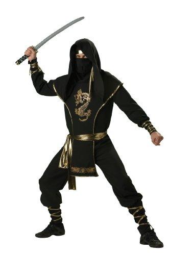 Halloween Costume Asian Male (InCharacter Costumes Men's Ninja Warrior Costume, Black/Gold, Medium)