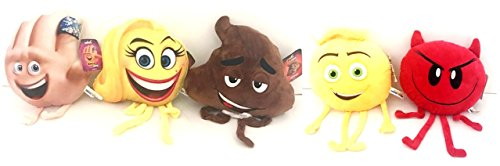 Emoji Movie Plush Doll Set ; Gimmie, Devilicious, Happens, Crazy Happy Girl and Not Easy Being Meh 5 pc -