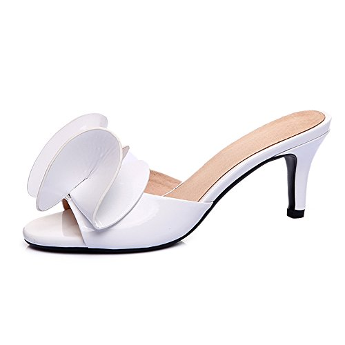 SUNROLAN Beata Women's Leather Slip-on Peep Toe Bow Accents Dress Slide Heel Stiletto Pump Sandals
