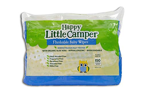 Happy Little Camper x Hilary Duff Gentle Hypoallergenic and Dermatalogically Tested Natural Flushable Septic Safe Wipes with Organic Aloe Vera and Vitamin E, 150 Count