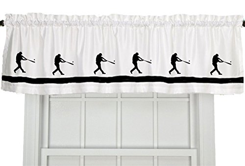 (Baseball Player Window Valance / Window Treatment - In Your Choice of Colors - Custom Made)
