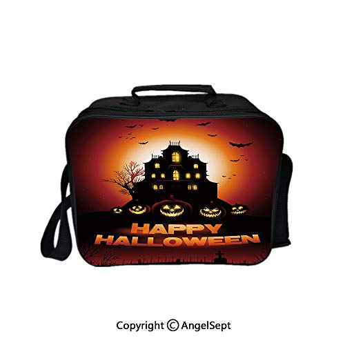 Travel Picnic Lunch Box Wide Open Lunch,Happy Halloween Haunted House Flying Bats Scary Looking Pumpkins Cemetery Decorative Black Orange Red 8.3inch,Lunch Bags For Unisex Adults]()
