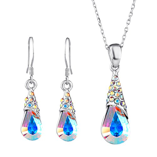 Neoglory Aurora Borealis Crystal Jewelry Set Teardrop Necklace Earrings Embellished with Crystals from Swarovski