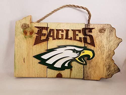 Iliogine Funny Wood Sign Philadelphia Eagles Hanging Wood Cut Sign State Shaped Wall Art Decor Porch Entrance Desk Room Plaque