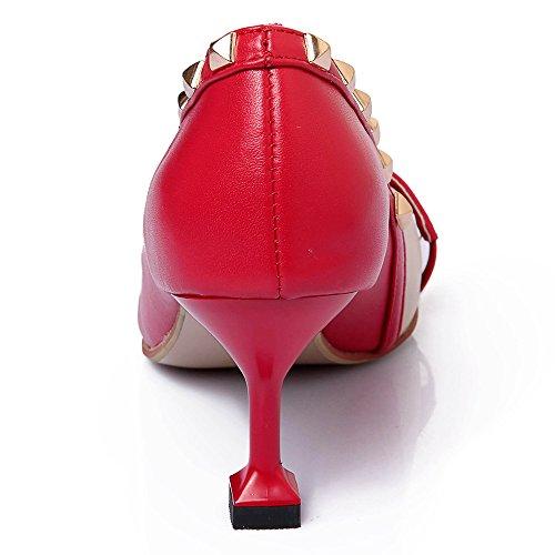 Moda de Puntiagudos Aguja Seven Tacones con Nine Mujer para Cuero Rojo Remache qST4A