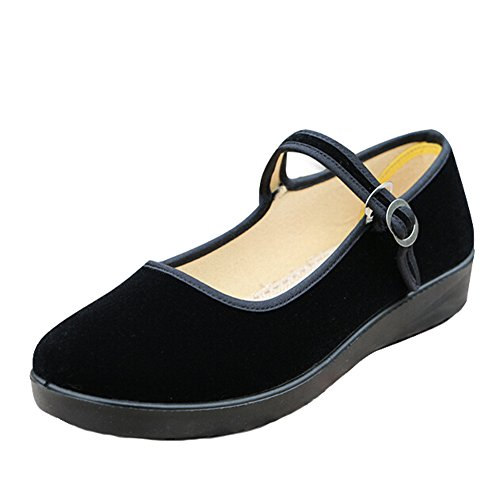 Hattie Old Beijing Cloth Loafers Buckled Velvet Shoes for Middle Aged Women zQUHdy