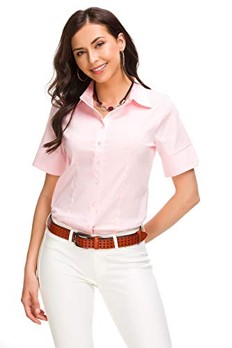 (Mei teer Womens Basic Button Down Shirts Simple Short Sleeve Pullover Stretch Formal Casual Shirt, Pink, Large)