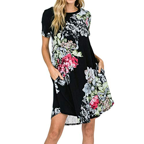 Tantisy ♣↭♣ Women Short Sleeve T Shirt Print Dress Sexy Floral Dresses Summer Loose Ladies Casual Dresses Black