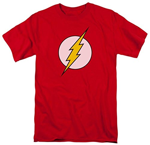 Officially Licensed DC Comics Flash Logo T-Shirt, Red, M]()
