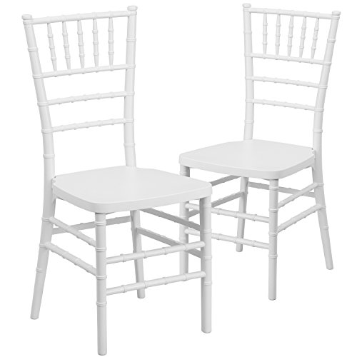 - Flash Furniture 2 Pk. HERCULES PREMIUM Series White Resin Stacking Chiavari Chair
