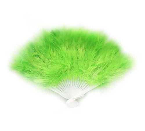 Reinhar Feather Fans burlesque Folding Dance Props Hand Fan For Women Halloween Wedding Party Supplies 14 Colors dark green