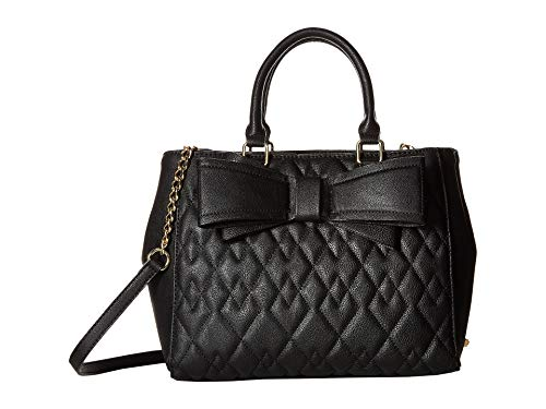 Betsey Johnson Women's Quilted Satchel Black One Size (Betsey Johnson Totes Black)