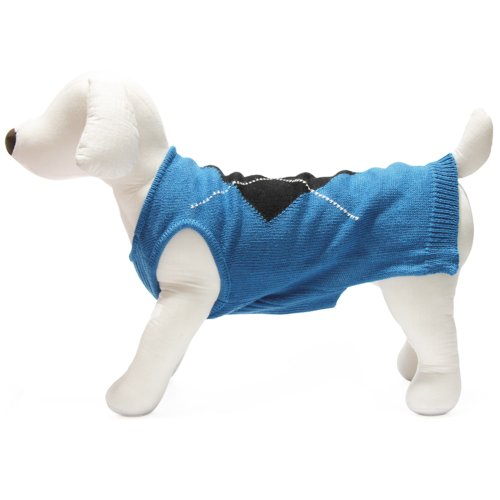 Gooby Single Diamond Sweater for Dogs, Small, Blue