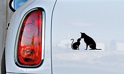 - Dog Cat Combination Silhouette Version 5 Car Vinyl Sticker Decal Bumper Sticker for Auto Cars Trucks Windshield Custom Walls Windows Ipad Macbook Laptop and More (BLACK)