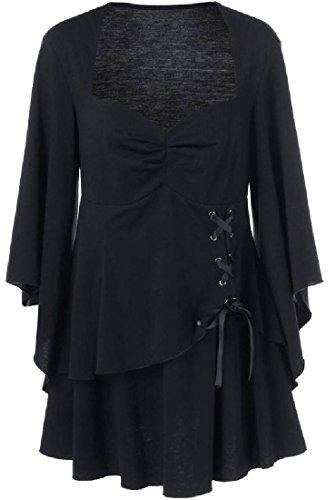 lido De Volante Del Negro Punto neros S Batwing Coolred De G mujeres De Color Fluidas Vestido wPxtv