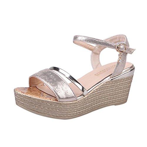 De Mujeres Plataforma Zapatos Grueso Sandalias TacóN Mujer Y OHQ Plano De Elegante Oro Romanas Sandalias Sandalias para Verano De Romanas Mujer con Planas qEnZ6n