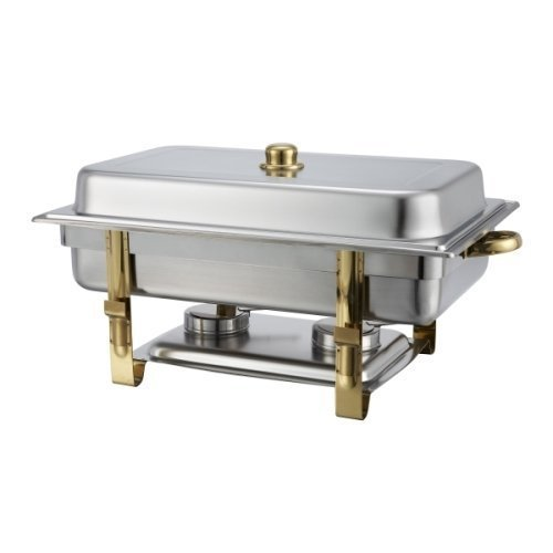 Malibu Chafer 201 - 8 qt Oblong Stainless Steel W/ Gold Accents Winco Set of 2