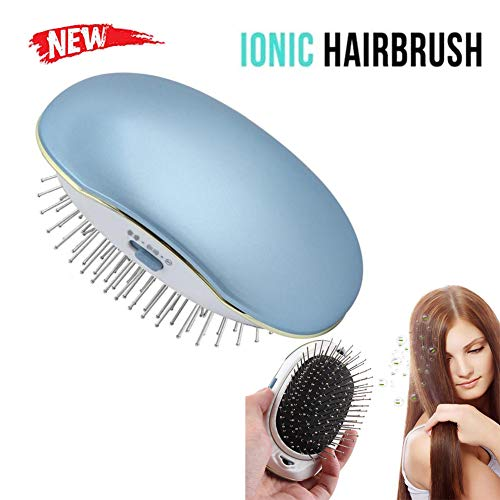 (Mini Ionic Hair Brush, LEEGOAL Portable Electric Ionic Hairbrush Styling Combs Scalp Massager for All Hair Types, Hair Detangler, Antic-Static, Natural Shine (Blue))