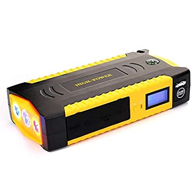 Cheng-store Car Jump Starter, 12V 16800mAh 600A Peak Vehicle Booster Battery, Ultrathin Portable Supercap Booster Pack - with LCD Display, Smart Jumper Cables and LED Flashlight