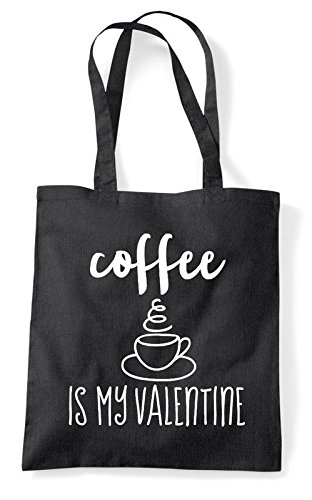 Tote Bag Valentine And My Coffee Is Blue Black Shopper Statement Version Sz8I6wq